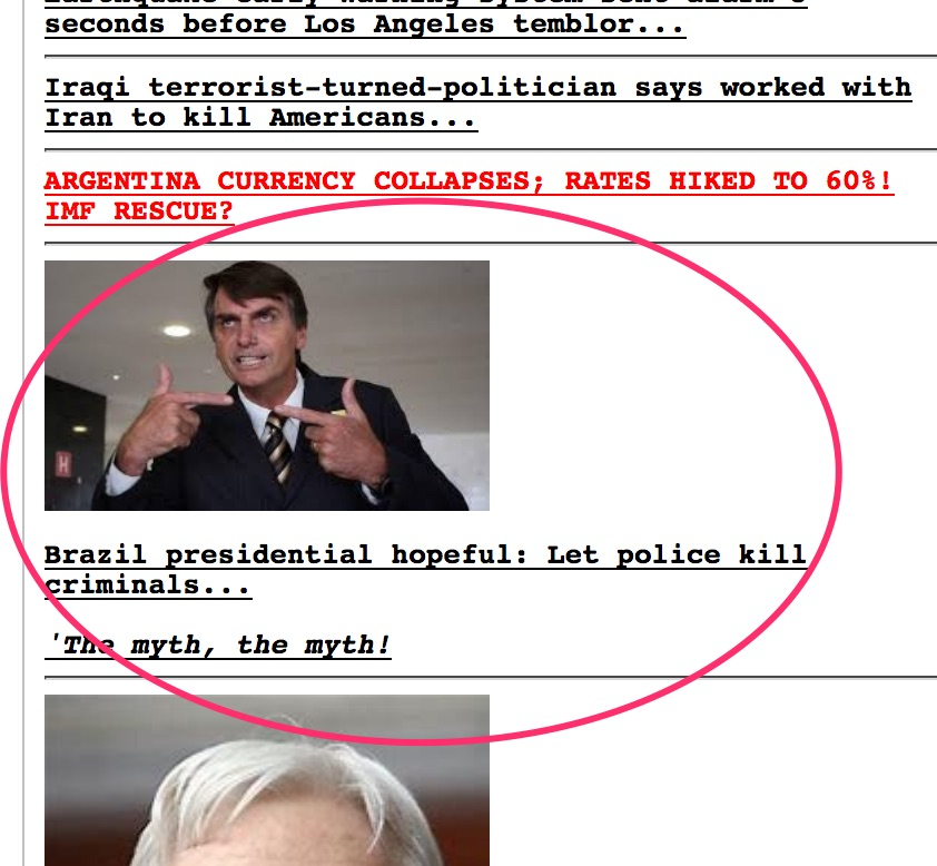 Brazilian Election Watch: Look Who's On Drudge! – Best of